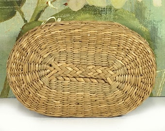 Small Vintage Oval Woven Grass Basket with Lid, Natural Materials