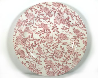 "Vintage Dinner Plate, (8 Available), Churchill, ""Pink Peony"" Pattern, 10 3/8"" Dinner Plate, Made in England"