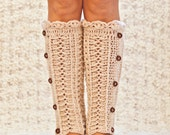 Instant download - Crochet PATTERN for leg warmers (pdf file) - Ivory Buttoned Leg Warmers