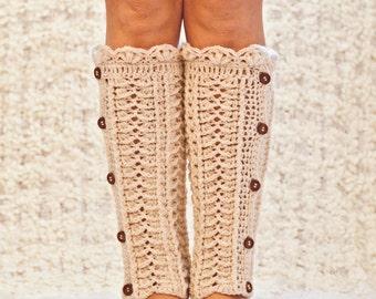 Crochet PATTERN - Ivory Buttoned Leg Warmers