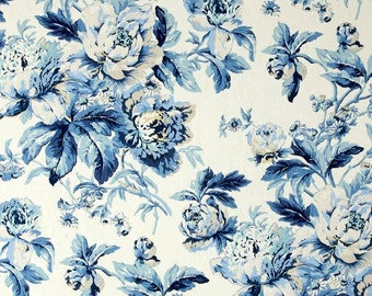 Blue Floral Curtains, Cottage Chic Drapes, Shabby Chic Window Treatments,  Blue Country Chic  Blue Floral Curtains