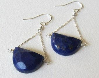 Navy Blue Lapis Lazuli Half Moon Shaped Stone Earrings - Wire Wrapped Jewelry