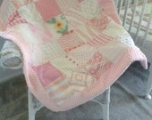 Pink quilt from vintage chenille bedspreads shabby decor cottage chic