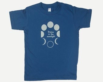 Organic Cotton Toddler Tee Shirt Dance in the Moonlight Moon Phase Blue Kids T Shirt