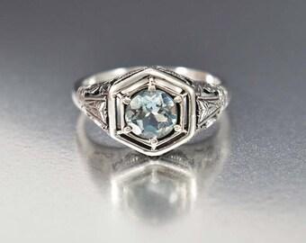 Aquamarine Ring, Art Deco Engagement Ring, Sterling Silver Filigree Ring, Gemstone Ring, Vintage Art Deco Style Jewelry, Birthstone Ring