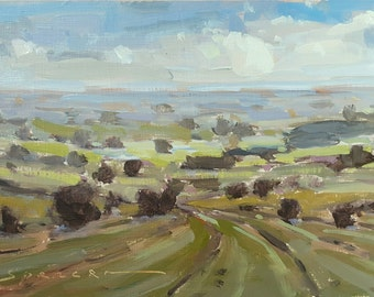 On The Road To Half Moon Bay | Oil Painting Landscape Painting Original Painting | 5 x 7