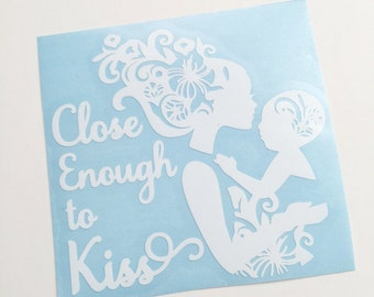 Babywearing decal - Close Enough to Kiss - Gloss White Vinyl Car Decal
