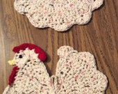 2 Crocheted Chicken/Rooster Hot Pad Kitchen Decorations