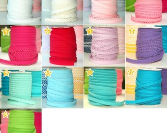 SPECIAL OFFER: Buy 5 Get 6 Meters Double fold picot crochet bias tape, crochet bias tape, solid color bias tape, double fold bias tape
