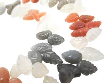 Multi Moonstone Beads, Rainbow Moonstone Beads, Peach Moonstone Bead, Leaf Shape, Multi Color Moonstone, Gray Moonstone, White, SKU 3542