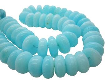 Blue Peruvian Opal Beads, Peruvian Opal Beads, Blue Opal Beads, Rondelles, 13-17, SKU 5002