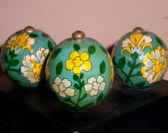 PULLS KNOBS HANDLES Floral Hand Painted Flowers Wood Wooden Balls Vintage Hardware Set Trio 3