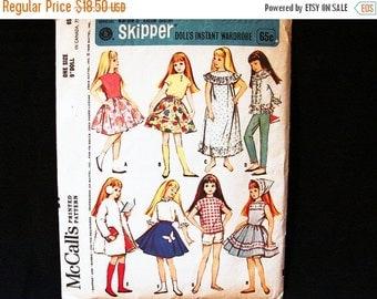 "Sewing Pattern SALE 1960s Skipper Doll Clothes Pattern McCalls 9"" Doll Pattern Barbies sister Skipper"
