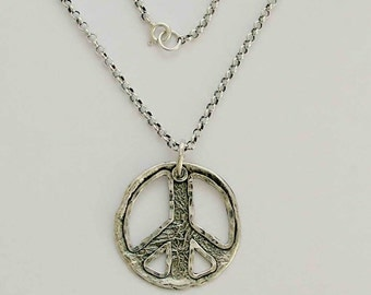 Simple necklace, casual necklace, peace necklace, sterling silver necklace, peace charm pendant, peace pendant - Make love not war N4554A