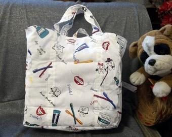 Cotton Shopping Tote Bag, Brush Your Teeth Print