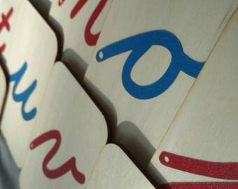 "Lowercase Cursive Sandpaper Letters on 3""x5"" Birch Wood"