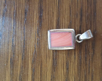 Vintage Sterling Silver and Coral Necklace Pendant