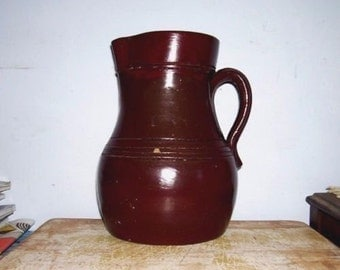 American BATTER JUG Colonial Stoneware PITCHER Brown Slip Primitive Utilitarian Prop Vase