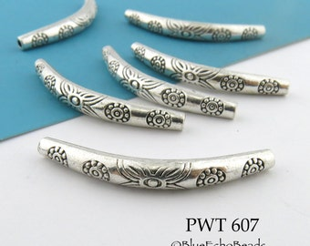 Curved Tube Pewter Bead Noodle Bead Floral Pattern 34mm (PWT 607) 3 pcs BlueEchoBeads