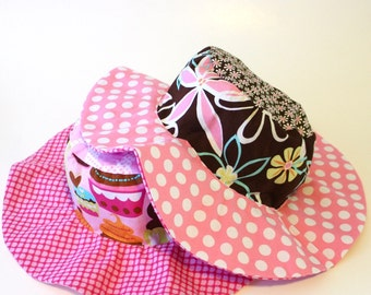 Childrens Floppy Brim Sunhat for Girls, Summer Cotton UV Protection Hat with Wide Brim