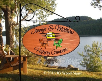 Wood Carved Sign - Custom Sunset Chairs Wide Oval Wood Camping Sign - Includes Round Garden  holder - RV Camper Sign