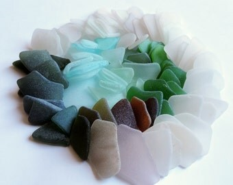 11 oz / 100 pcz From small to Large genuine SEA GLASS Jewelry quality, near perfect, thin Lot of 100 pcs / P94