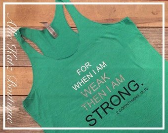 Racerback Workout women's tank strong Motivational inspirational