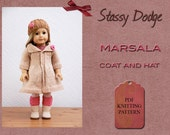 Knitting Pattern for American Girl Doll Marsala Coat And Hat Spring Summer Doll Outfit Stassy Dodge Designs PDF File Instant Download