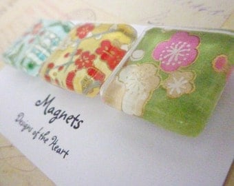 Square Glass Magnet Set - Flower collection Japanese Paper