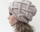 Hand Knit Hat wool Beret Hat Wheat hat