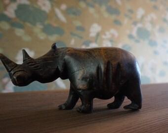 Vintage Wooden Rhinoceros  Rhino
