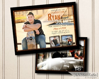 The Ryan---ADOBE PHOTOSHOP Graduation Announcement Template for Photographers, DIY, Graduation Party, Open House