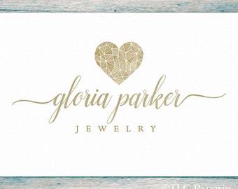 Heart Logo Design, Jewelry Logo, Custom Logo, Photography Logo,  Wedding Logo, Business Logo, Watermark, Premade Logo, Watercolor Logo
