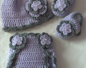 Baby Girl Infant Girl Crochet Hat Beanie Booties Diaper Cover Baby Shower Gift Photo Prop 10005 MADE TO ORDER