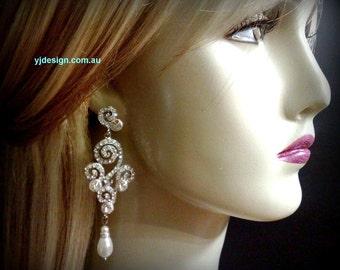 Chandelier Bridal Earrings, Statement Bridal Jewelry, Pearl Wedding Jewelry, Swarovski Crystal Wedding Earrings, STRUDELS