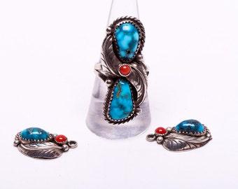 Navajo Ring & Hook Earrings Set - Kingman Water Web Turquoise - 70s Signed - sz 8