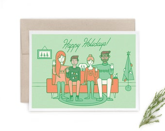 Custom Modern Holiday Card - full portrait