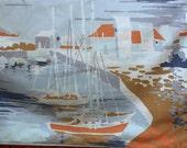 Vintage King Size Pillowcase, Nautical Pillowcase, Boat Pillowcase, Retro Pillowcase, Vintage Sailboat, Boat Bedding, Vintage Boat