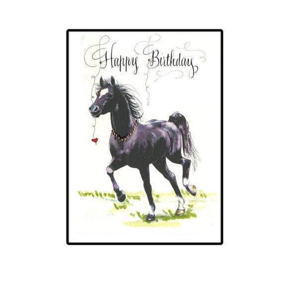 Beautiful Black Horse Happy Birthday Card