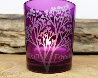 Personalized Purple 'Tree Of Love' Engraved Glass Votive Holder Valentine's Day Gift Includes Gift Box FREE SHIPPING