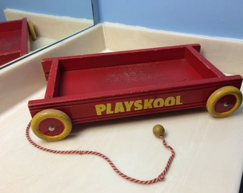 Red Wooden Playskool Wagon