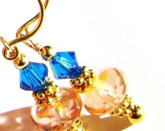 SALE, Tropical Blue Swarovski Crystal Earrings, Pink Stacked Crystal Earrings, Yellow Gold Vermeil Earrings, Gift For Her
