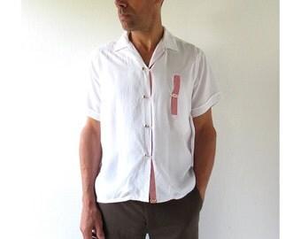 1960s Men's Shirt / Red and White Shirt / 60s Shirt / Medium M