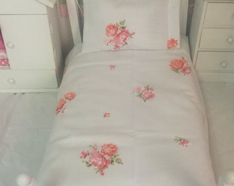 "American Girl Doll Sheet set- Vintage pink and Blush Roses-18"" Doll size"
