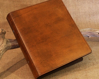 A5 Brown Leather 2 Ring Binder, Presentation Folder, Antique Brown Leather, Desk Diary Organiser, Ringbinder, Free Personalisation, Initials