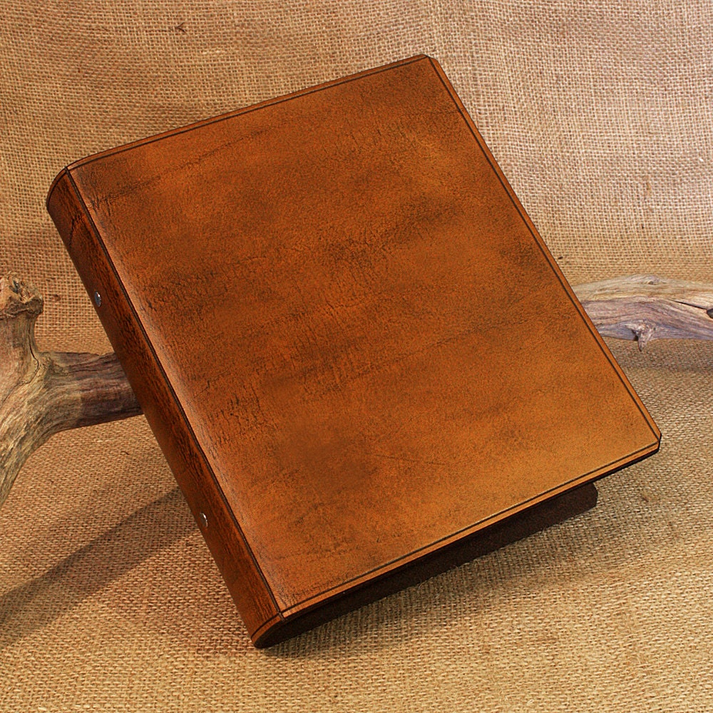 A5 Brown Leather 2 Ring Binder Presentation Folder Antique