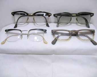 Lot of 4 Vintage Mens Eyeglasses Clark Kent Superman Style Mid Century Mad Men Hollywood Hipster