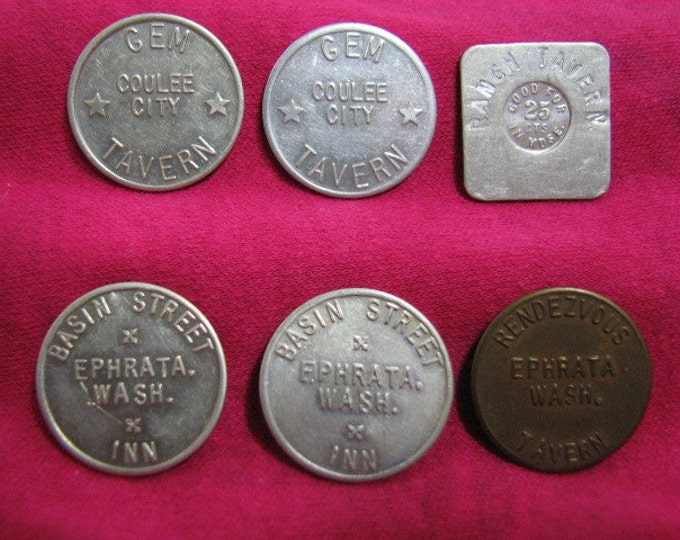 6 Trade Tokens, Vintage Washington State Good For Tokens, Brass Aluminum, Coulee City, Ephrata