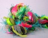 acid rain dream weaver effects™ art yarn bundle 30yd weaving yarn pack mixed media textile craft kit luxury fibers ribbons gray neon brights
