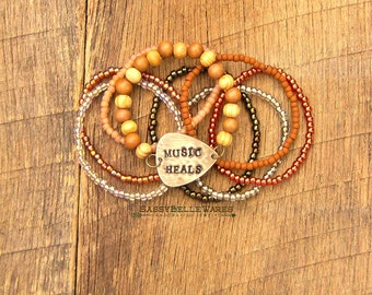 Guitar Pick Bracelet Stack Music Heals festival ready fashion style rocker musician saying phrase quote positivity positive mantra rustic